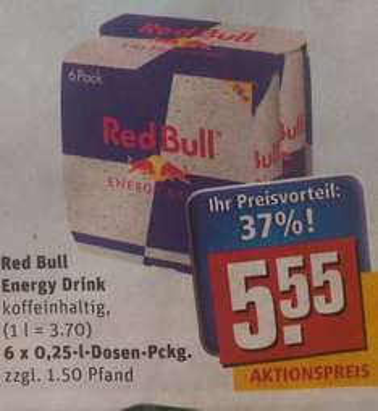 [Rewe Bundesweit] Red Bull 6er Pack für je 92cent / Dose