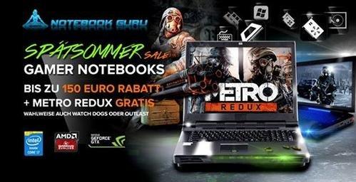Günstige Gamingnotebooks bei Notebookguru dank Spätsommer-Sale + Spiel gratis