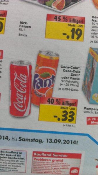Kaufland Coca Cola, Coca Cola Zero, Fanta 0,33Liter für 0,33€ + 0,25€ Pfand