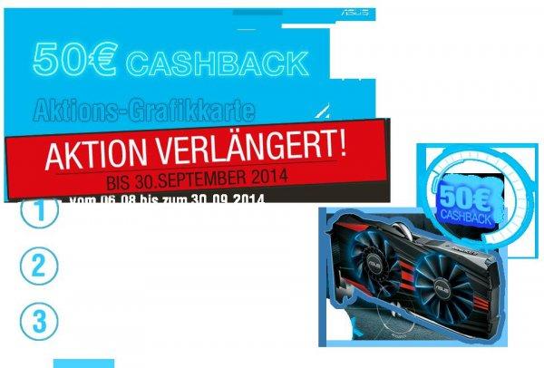 ASUS 50 € Cashback Aktion VERLÄNGERT bis zum 30.09.2014