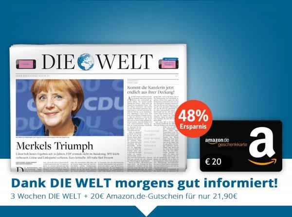 """3 Wochen """"Die Welt"""" für effektiv 1,90€ bzw. """"Die Welt"""" und """"Welt am Sonntag"""" für effektiv 2,90€"""
