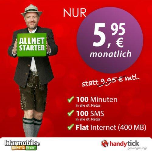 Klarmobil Allnet Starter nur 5,95€ monatlich! 100 Min/ SMS & 400MB Daten - D2 Netz!