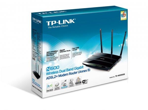 "TP-Link™ - Wireless Dual Band Gigabit Router ""TD-W8980B N600"" (2,4&5GHz,600Mbps,2xUSB 2.0) für €59.- [@Amazon.de]"