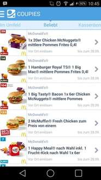 McDonalds Coupons bei Coupies