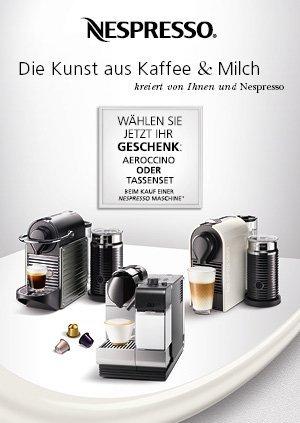 Nespresso Maschine + 10 Stangen: Aeroccino3 (od. Tassenset) gratis dazu