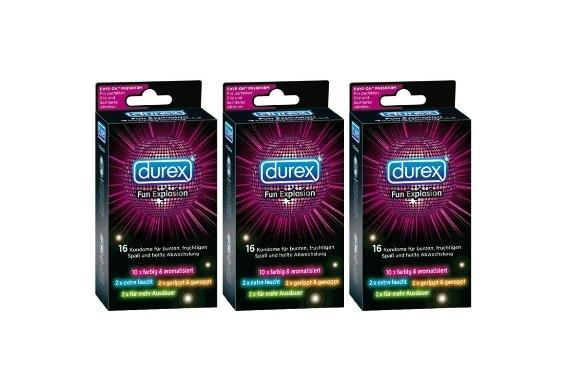 [3% Qipu] 3er Pack: Durex Kondome Fun Explosion mit Easy-On Passform und Reservoir a 16 Stück (insg. 48 Kondome) für 19,99€ frei Haus