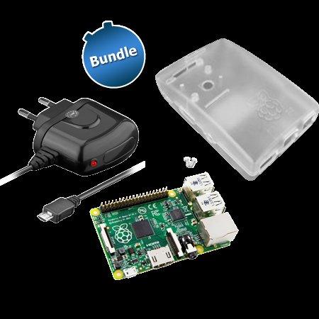 Raspberry Pi Foundation Bundle: Raspberry Pi B+ mit Gehäuse (transparent) + Netzteil