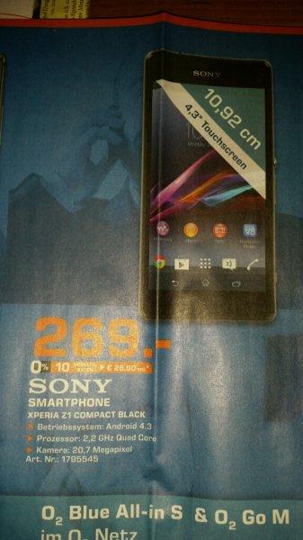 Sony Xperia Z1 Compact Black für 269€ bei Saturn Hamburg (lokal) nur am 11.09.14