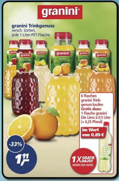 [REAL BUNDESWEIT] KW38: 6x Granini Fruchtig & Leicht 1,0l + 1x Die Limo 0,5l für 0,61€/Flasche