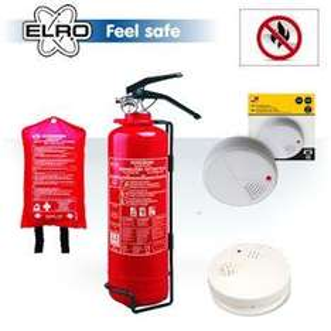 Elro Feuerschutzpaket: Pulverfeuerlöscher, 2 Rauchmelder, Feuermelder und Löschdecke @iBOOD
