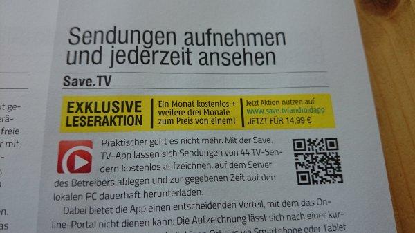 Save.tv einen Monat kostenlos + 3 Monate zum Preis von einem