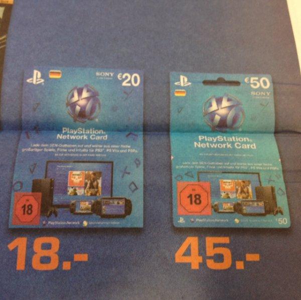 *Saturn Reutlingen* Günstiges PSN Guthaben (20€ & 50€ Code-Karten)