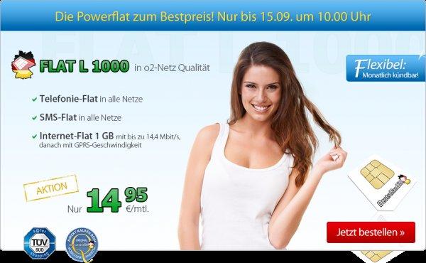 DeutschlandsSim O2 Flat L 1000 , Allnet-Flat mit SMS-Flat und 1 GB Datenflat mit max. 14,4 MBit/s mtl. künbar für 14,95€