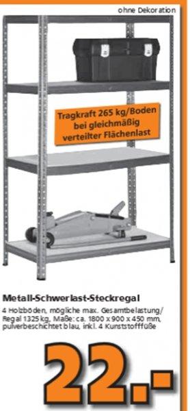 Schwerlastregal mit 2 Böden. Tragfähigkeit 265 kg je Boden für 22 @ Globus + Hela