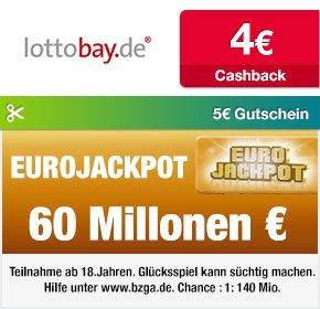 Qipu | Lottobay.de Neukunden 5€ Gutschein + 4€ Cashback bei nur 11,60€ Mindestspieleinsatz, d.h. 11 Felder (Lotto 6aus49) für nur 2,60€ spielen