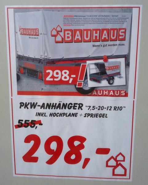 Lokal: Hamburg-Bergedorf - Bauhaus -PKW-Anhänger 7,5-20-12 R10 inkl. Hochspiegel und Plane