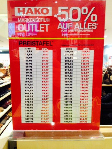 HAKO Schuhe Outlet 50% auf alles* - Frankfurt Zeil! --Lokal???
