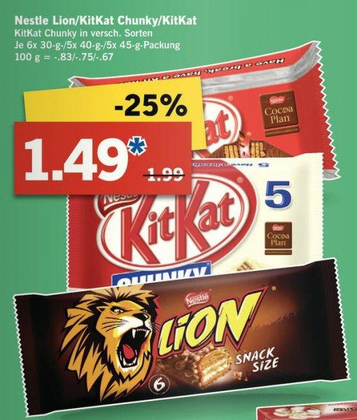 Nestle Lion / KitKat / KitKat Chunky White (5er) für 1,49€ @ LIDL ab 18.09.14