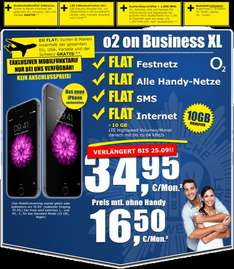 o2 on BUSINESS XL ohne Handy 16,50€