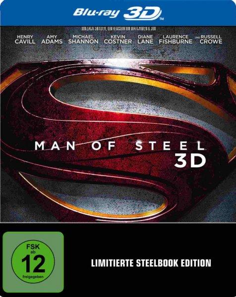 [Amazon] Man of Steel 3D Steelbook [3D & 2D Blu-ray] [Limited Edition] für 14,45 € als Prime für 13,97 €