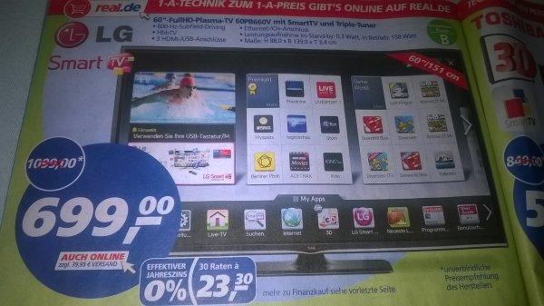 "[Bundesweit] 60"" LG 60PB660V Plasma Smart TV @Real"