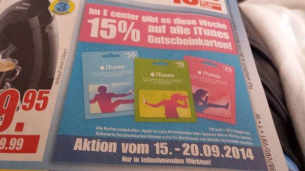 15 % auf iTunes Gutscheinkarten
