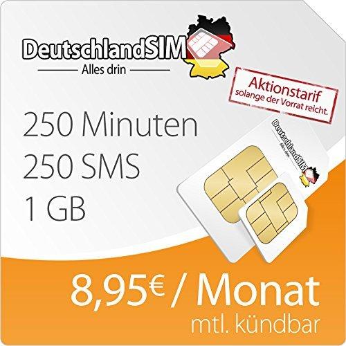 [Amazon] DeutschlandSim SMART 1000 - nur 4,95€ Anschlussgebühr (250Min/250SMS/1000MB für 8,95€ - monatlich kündbar im O2 Netz)