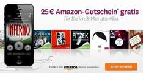 Audible: 3 Hörbücher + 25€ Amazon Gutschein für effektiv 4,85€