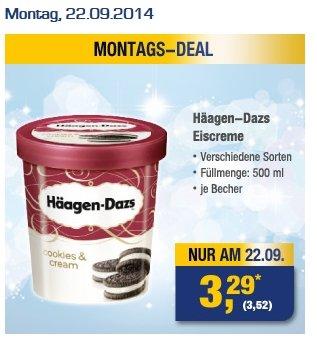 [METRO - für Gewerbe] Häagen Dazs Eiscreme (verschiedene Sorten) 500 ml für 3,52 (brutto) / 3,29 (netto)