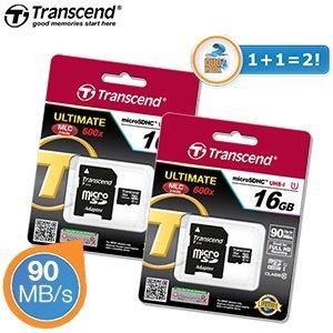 DuoPack Transcend 600 x UHS-I-16 GB Class 10 MicroSD-Karten 28,90€ inkl. Versand