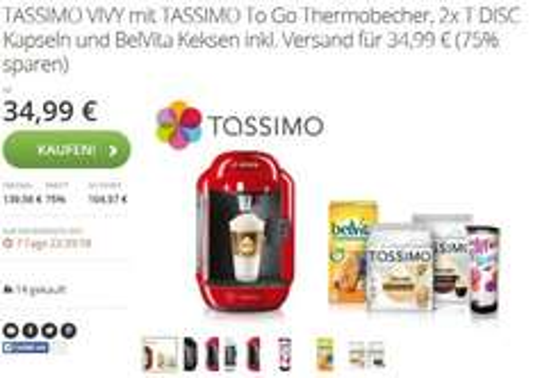 [GROUPON] Tassimo VIVY + Thermobecher + 2x Tassimo Pad-Packungen Jacobs espresso & Jacobs Cafe au Lait + Packung Belvita Frühstücks-Kekse für 34,99€ inkl. Versand