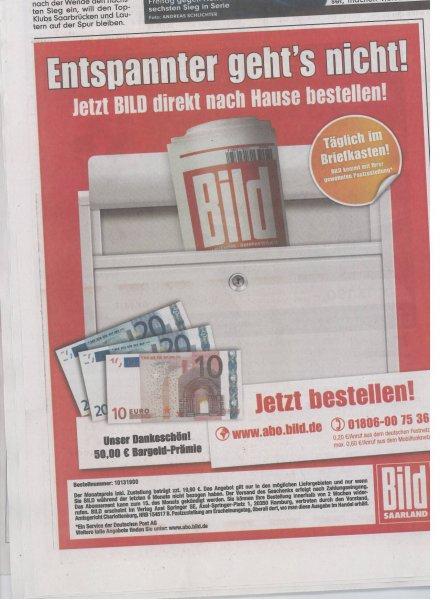 8 Wochen BILD frei Haus mit ca. 10 Euro Gewinn [evtl. auch 30 Euro Gewinn]
