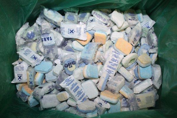 """(Ebay)Spülmaschinentabs """"Bruchware"""" 11,90 € mit kostenlosem Versand !0,023€/Waschgang!, Karton mit ca. 10kg Ausschusstabs für Sparfüchse"""