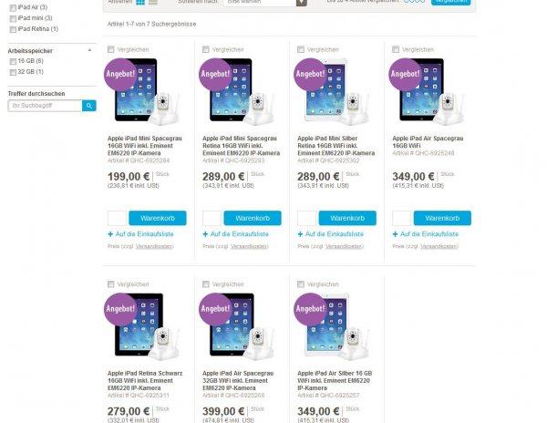 Verschiedene Apple Ipad Modelle mit Eminent EM6220 IP-Kamera
