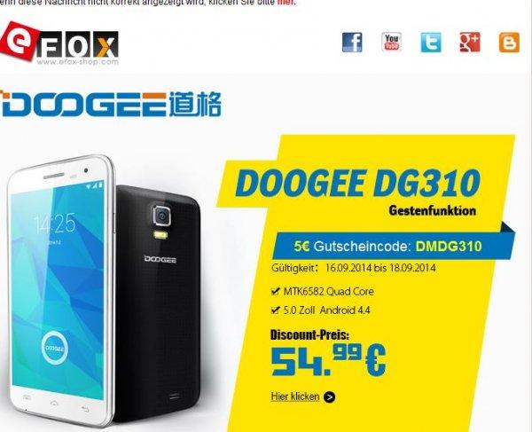 China-Smartphones mit Quacore-Prozessoren und Android 4.4 z.B. von Doogee für 54,99 €