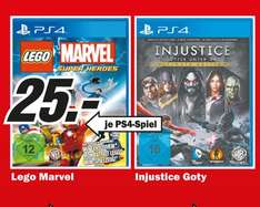 Injustice Ultimate Edition (PS4), Lego Marvel Super Heroes (PS4) für 25€ lokal @ Mediamarkt Köln