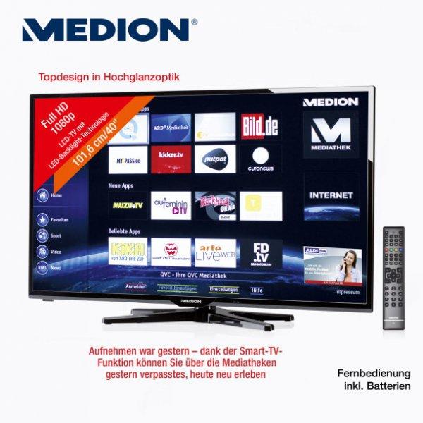 [Lokal @ ALDI Nord, 25.09.] MEDION P16063 101,6 cm (40 Zoll) LED-Backlight-Fernseher, 3 Jahre Garantie, EEK A+ (Full HD, 100Hz RMR, DVB-S2/T/C, WLAN, DLNA, Web-Browser, SmartTV und HbbTV)