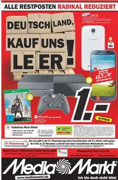 """Mobilcom Debitel """"D2"""" Vertrag (1 GB Volumen,SMS und Telefonie Flat) mit Xbox One Destiny Bundle+Samsung Galaxy S4 @Mediamarkt Darmstadt"""