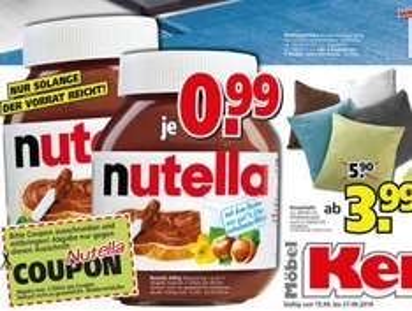 [lokal: Aschaffenburg] bei Möbel Kempf Nutella 450g für 0,99 €
