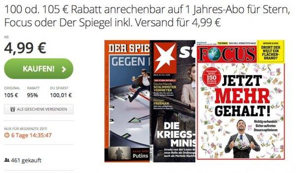Groupon: Jahresabo Spiegel, Stern oder Focus für 103€ / 123€