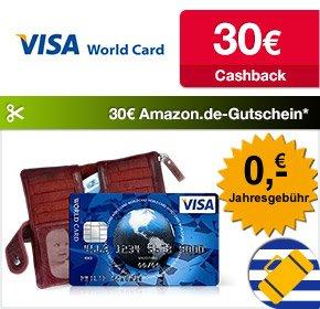 [Qipu] ICS Visa World Card mit 30€ Cashback + 30€ Amazon.de Gutschein