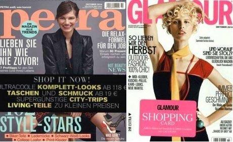 Glamour Jahresabo für effektiv 4,60 € oder mit MeinPaket-Gutschein 0,40 € Gewinn / Petra Jahresabo für effektiv 7,80 €