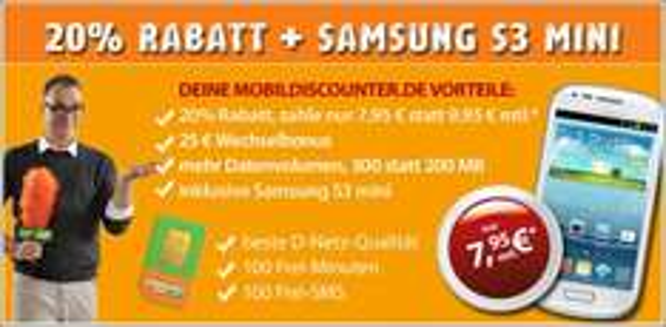 Gratis S3 mini + Internet Flat + 100Min + 100 SMS nur 7,95€ im Monat
