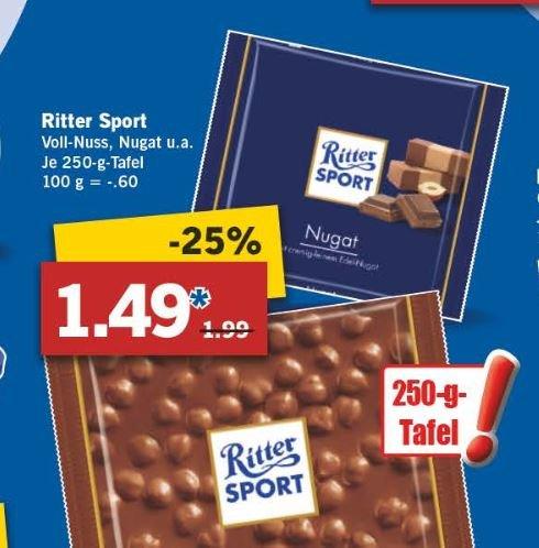 [LIDL] Ritter Sport 250g Tafeln für 1,49 Euro