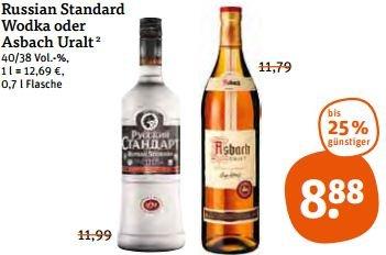 [Tegut] Russian Standard Wodka / Vodka und Asbach Uralt für 8,88€