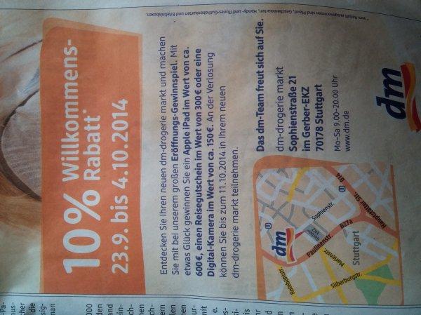 DM Neueröffnung Stuttgart Gerber-EKZ 23.9-04.10.2014 10% Rabatt