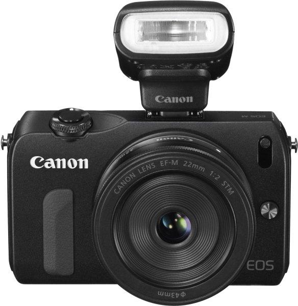 Canon EOS M kompakte Systemkamera (18 Megapixel, 7,6 cm (3 Zoll) Display, Full HD, Touch-Display) inkl. EF-M 22mm 1:2 STM Pancake-Objektiv, Speedlite 90EX und Mount Adapter EF-EOS M schwarz @Amazon Blitzangebot