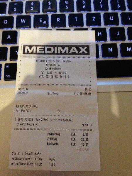 [Medimax Geldern] Rapoo X1800 Tastatur mit Maus für 9,99