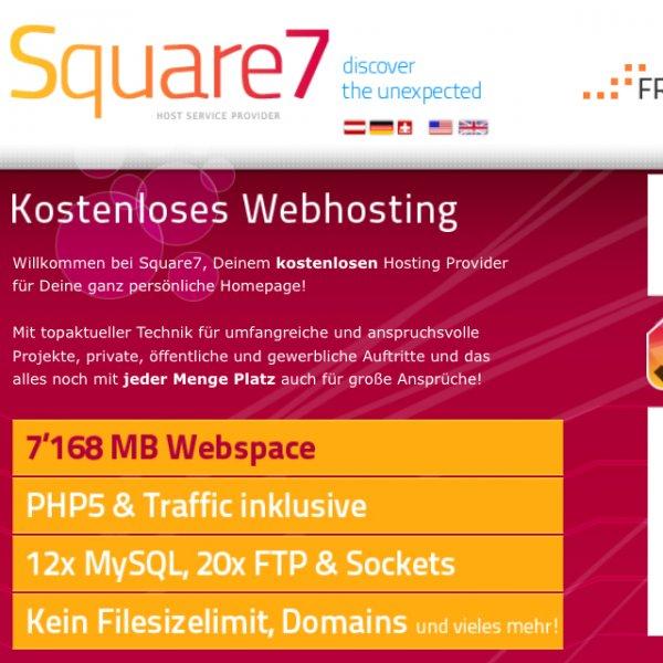 Hosting kostenlos bei Square7, inkl. PHP, MySQL, etc.