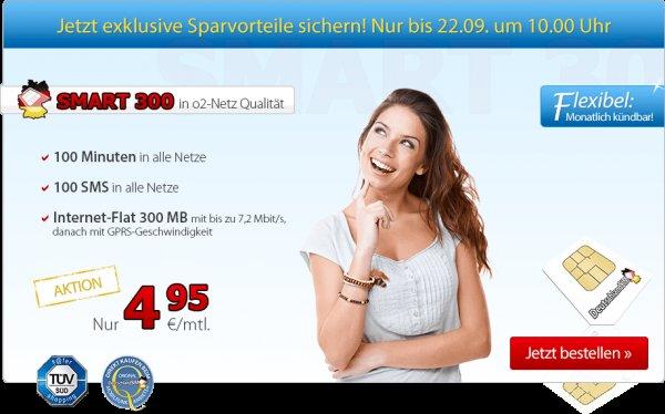 Deutschlandsim O2 Smart 300 o2 Netz 100Min/100SMS/300MB mtl. kündbar für 4,95€ im Monat